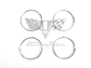 1958-1966 Chevy 5 3/4 in. Headlight Bucket Retainer Rings, Set 4