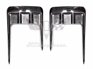 1958 Chevy Impala Hardtop Convertible Side Pitch Fork Stainless Trim Moldings, Pair POLISHED