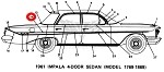 1961 Chevy Impala 4-door Rear Quarter Upper Molding RIGHT SHOW